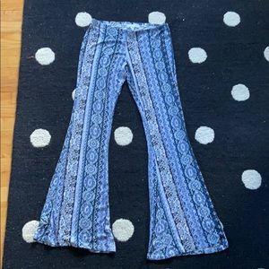 Blue and Purple Wide Legged Flare Pants